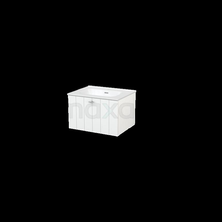 Badkamermeubel 90cm Modulo+ Hoogglans Wit 2 Lades Lamel Wastafel Keramiek