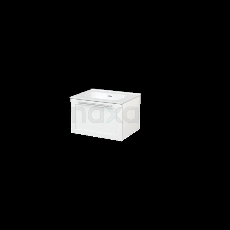 Badkamermeubel 60cm Modulo+ Hoogglans Wit 1 Lade Vlak Wastafel Keramiek