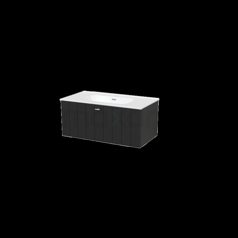 Badkamermeubel 90cm Modulo+ Carbon 1 Lade Lamel Wastafel Keramiek