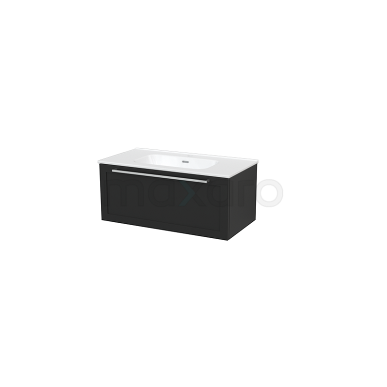 Badkamermeubel 90cm Modulo+ Carbon 1 Lade Kader Wastafel Keramiek