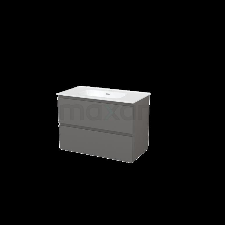 Badkamermeubel 90cm Modulo+ Basalt 2 Lades Greeploos Wastafel Keramiek