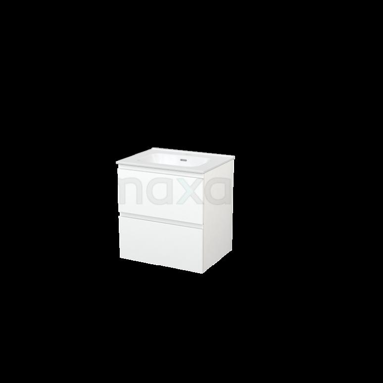 Badkamermeubel 60cm Modulo+ Mat Wit 2 Lades Greeploos Wastafel Keramiek