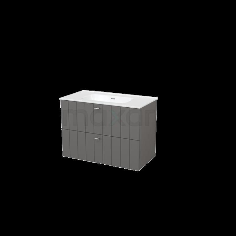 Badkamermeubel 90cm Modulo+ Basalt 2 Lades Lamel Wastafel Keramiek