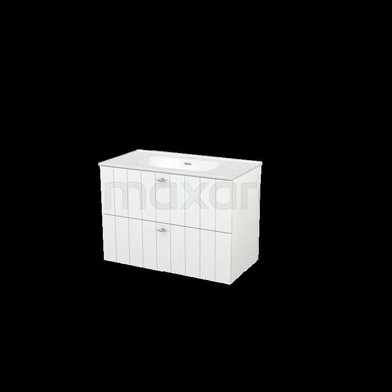 Badkamermeubel 60cm Modulo+ Hoogglans Wit 1 Lade Kader Wastafel Keramiek