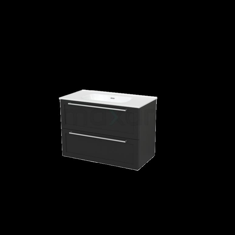 Badkamermeubel 90cm Modulo+ Carbon 2 Lades Kader Wastafel Keramiek