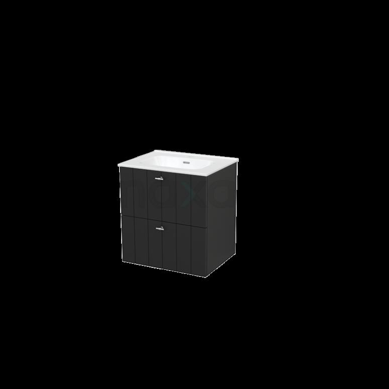 Badkamermeubel 60cm Modulo+ Carbon 2 Lades Lamel Wastafel Keramiek