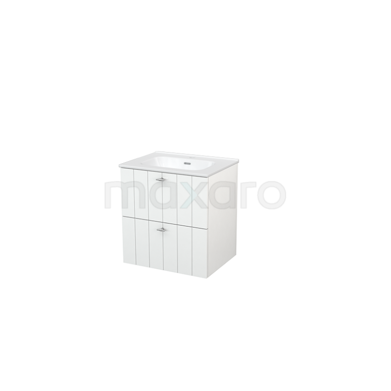 Badkamermeubel 60cm Modulo+ Hoogglans Wit 2 Lades Lamel Wastafel Keramiek