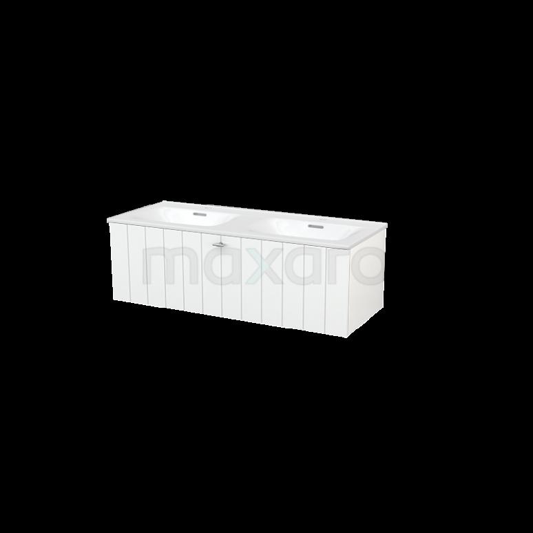 Badkamermeubel 120cm Modulo+ Hoogglans Wit 1 Lade Lamel Wastafel Keramiek