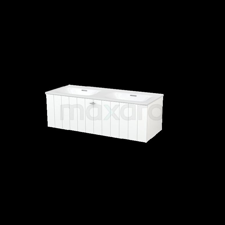 Badkamermeubel 120cm Modulo+ Mat Wit 1 Lade Lamel Wastafel Keramiek