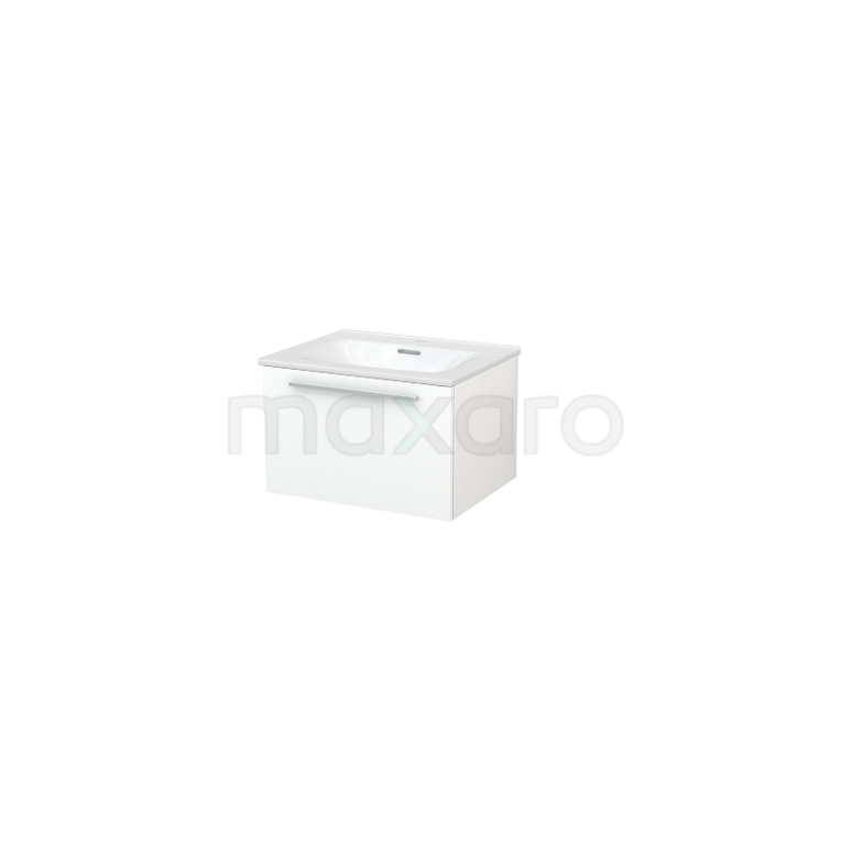 Badkamermeubel 60cm Modulo+ Mat Wit 1 Lade Vlak Wastafel Keramiek