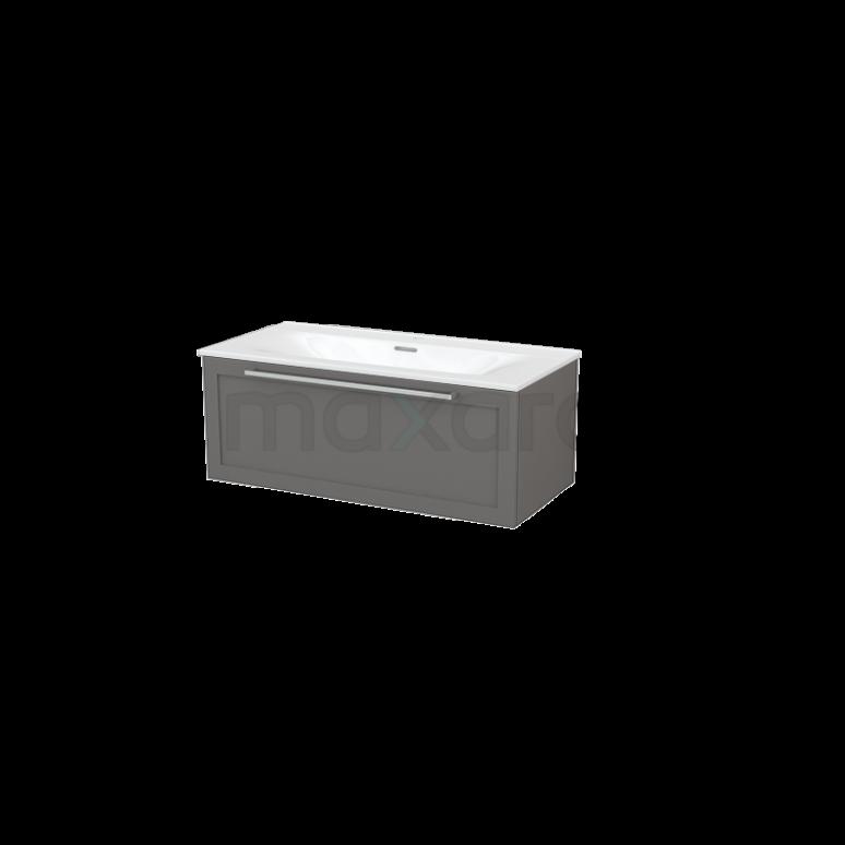 Badkamermeubel 100cm Modulo+ Basalt 1 Lade Kader Wastafel Keramiek