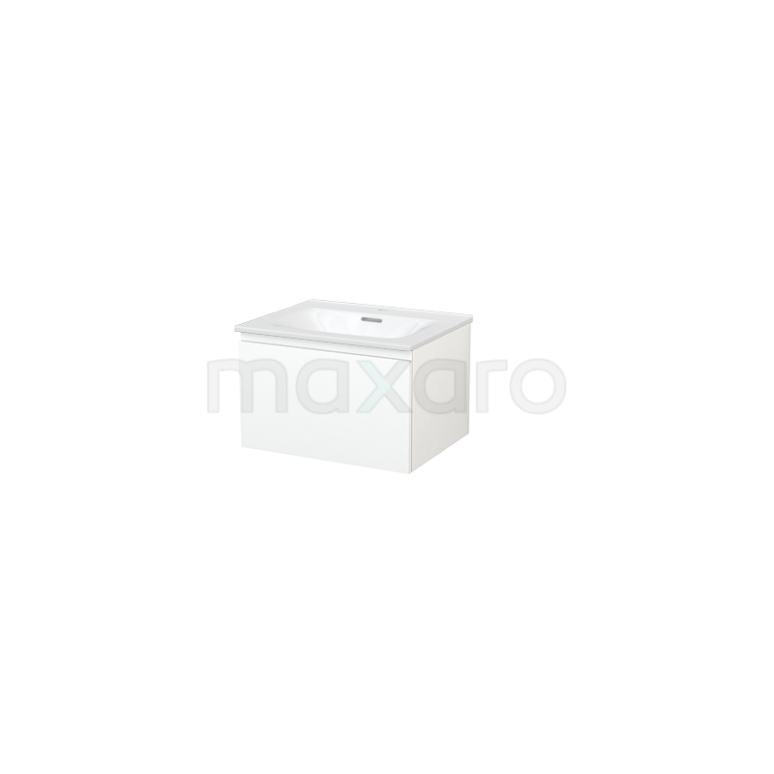 Badkamermeubel 60cm Modulo+ Mat Wit 1 Lade Greeploos Wastafel Keramiek