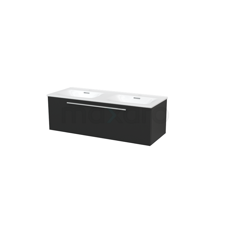 Badkamermeubel 120cm Modulo+ Carbon 1 Lade Vlak Wastafel Keramiek