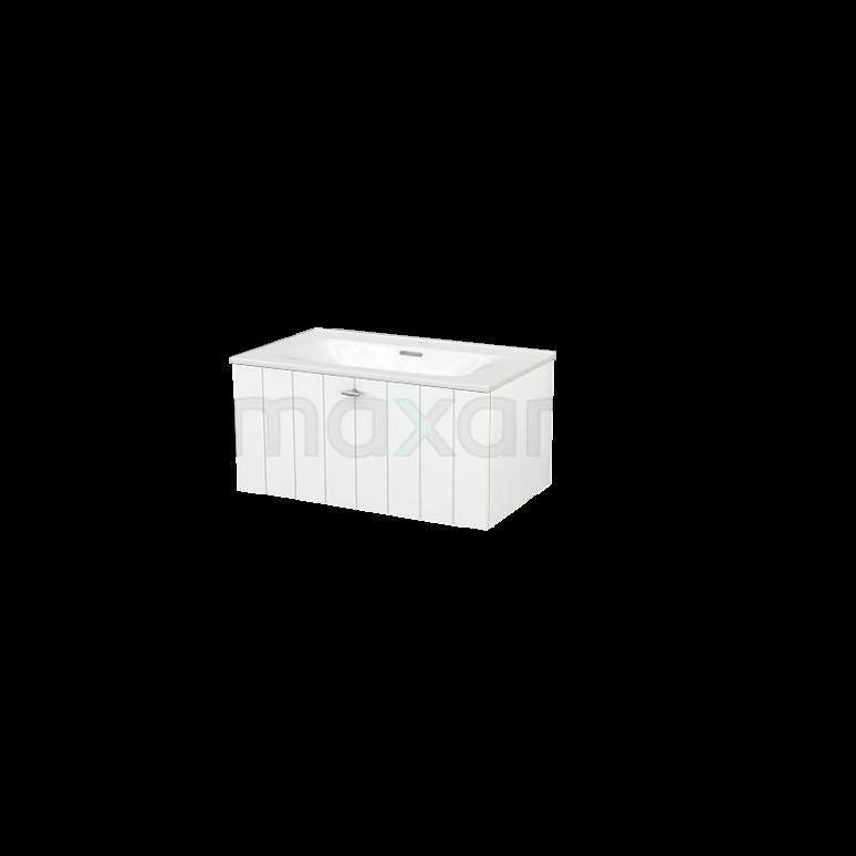 Badkamermeubel 80cm Modulo+ Hoogglans Wit 1 Lade Lamel Wastafel Keramiek