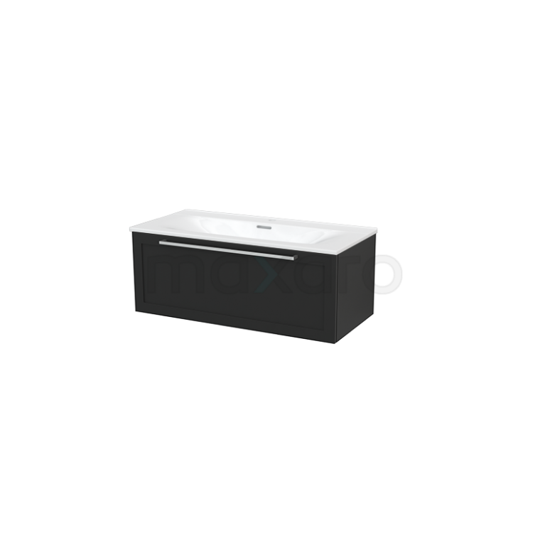 Badkamermeubel 100cm Modulo+ Carbon 1 Lade Kader Wastafel Keramiek