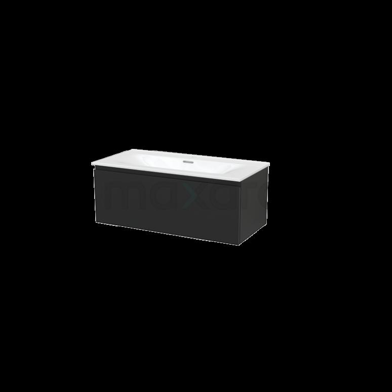 Badkamermeubel 100cm Modulo+ Carbon 1 Lade Greeploos Wastafel Keramiek