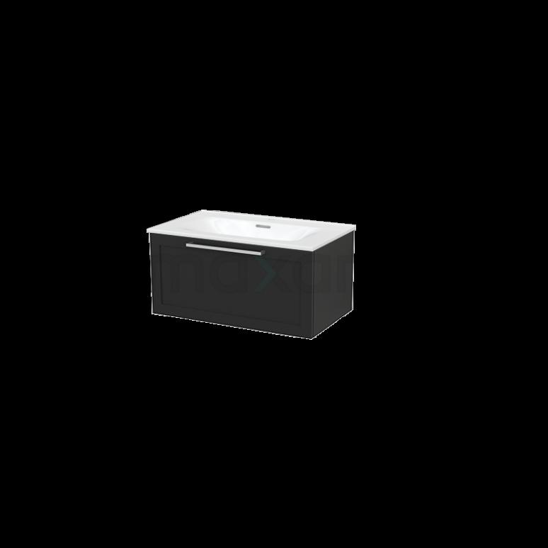 Badkamermeubel 80cm Modulo+ Carbon 1 Lade Kader Wastafel Keramiek