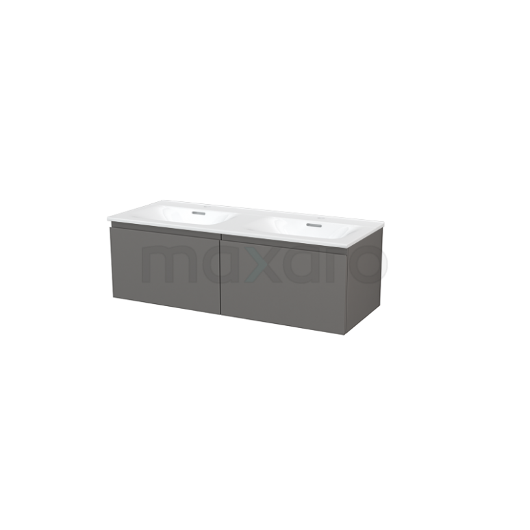 Badkamermeubel 120cm Modulo+ Basalt 2 Lades Greeploos Wastafel Keramiek