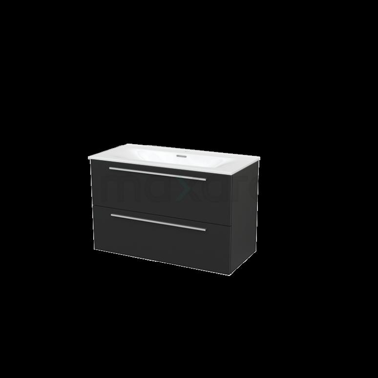 Badkamermeubel 100cm Modulo+ Carbon 2 Lades Vlak Wastafel Keramiek