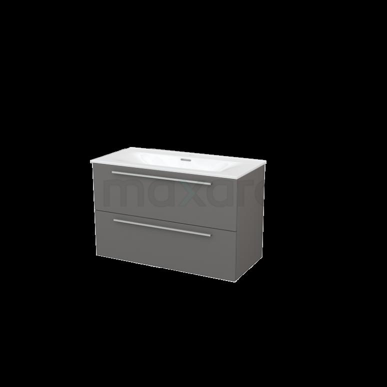 Badkamermeubel 100cm Modulo+ Basalt 2 Lades Vlak Wastafel Keramiek