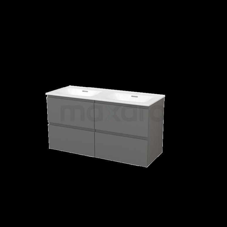 Badkamermeubel 120cm Modulo+ Basalt 4 Lades Greeploos Wastafel Keramiek