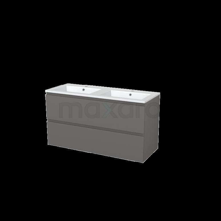 Badkamermeubel 120cm Modulo+ Basalt 2 Lades Greeploos Wastafel Mineraalmarmer