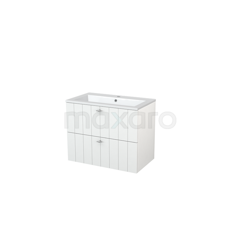 Badkamermeubel 80cm Modulo+ Hoogglans Wit 2 Lades Lamel Wastafel Mineraalmarmer