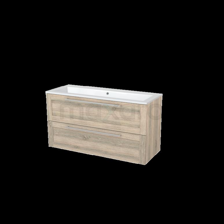 Badkamermeubel 120cm Modulo+ Eiken 2 Lades Kader Wastafel Mineraalmarmer