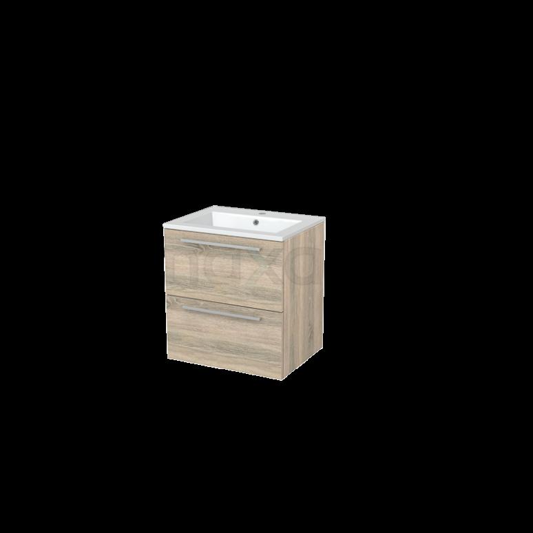 Badkamermeubel 60cm Modulo+ Eiken 2 Lades Vlak Wastafel Mineraalmarmer