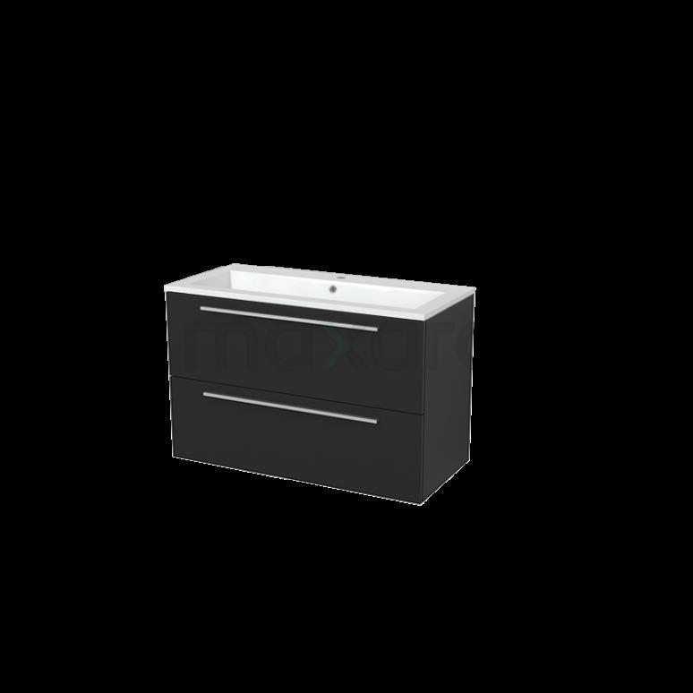 Badkamermeubel 100cm Modulo+ Carbon 2 Lades Vlak Wastafel Mineraalmarmer