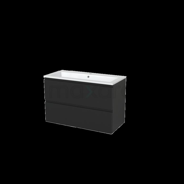 Badkamermeubel 100cm Modulo+ Carbon 2 Lades Greeploos Wastafel Mineraalmarmer