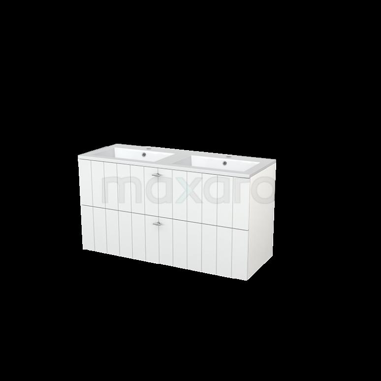 Badkamermeubel 120cm Modulo+ Hoogglans Wit 2 Lades Lamel Wastafel Mineraalmarmer