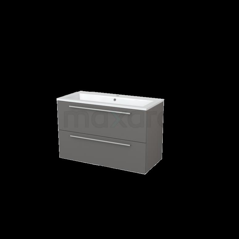 Badkamermeubel 100cm Modulo+ Basalt 2 Lades Vlak Wastafel Mineraalmarmer