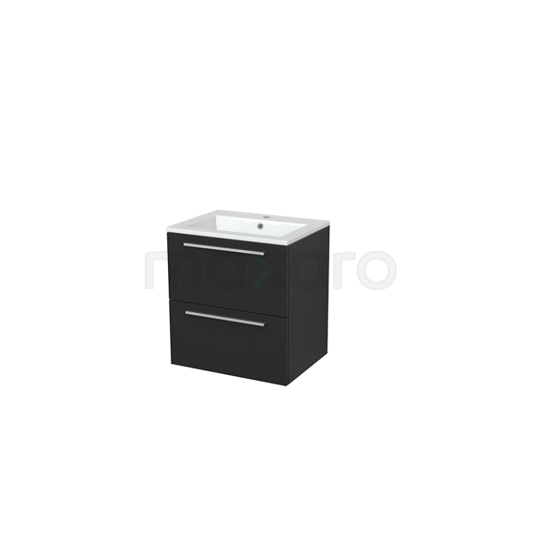 Badkamermeubel 60cm Modulo+ Carbon 2 Lades Vlak Wastafel Mineraalmarmer