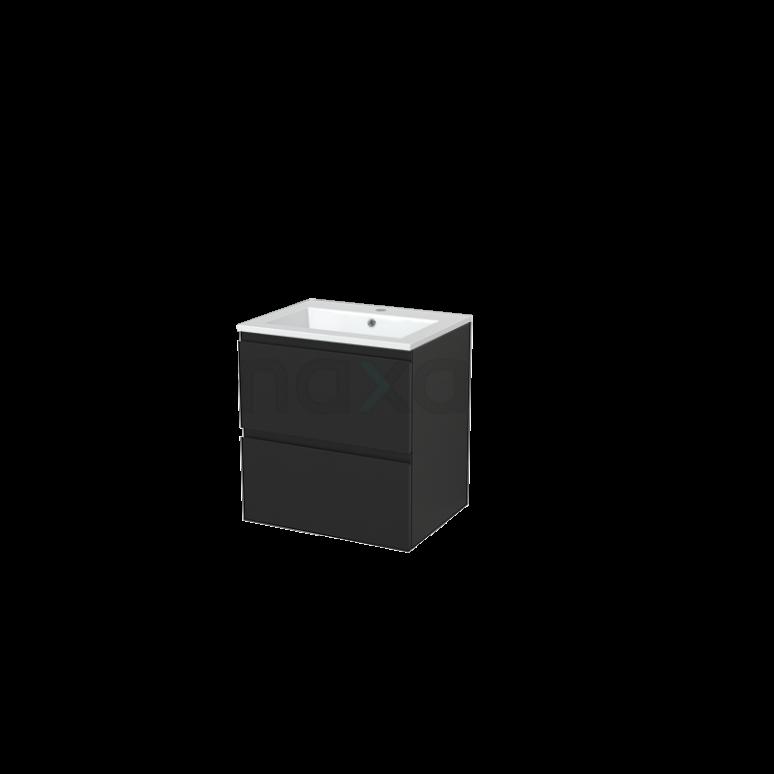 Badkamermeubel 60cm Modulo+ Carbon 2 Lades Greeploos Wastafel Mineraalmarmer
