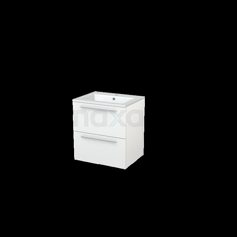 Badkamermeubel 60cm Modulo+ Hoogglans Wit 2 Lades Vlak Wastafel Mineraalmarmer