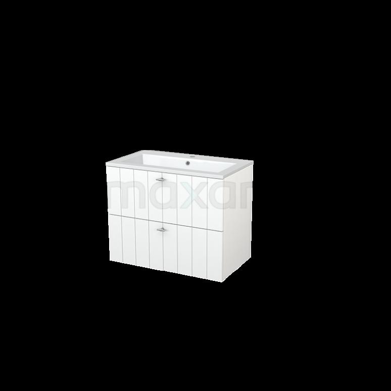 Badkamermeubel 80cm Modulo+ Mat Wit 2 Lades Lamel Wastafel Mineraalmarmer
