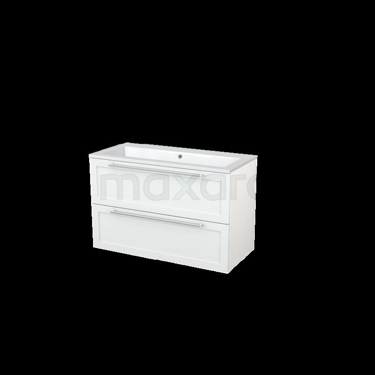 Badkamermeubel 100cm Modulo+ Hoogglans Wit 2 Lades Kader Wastafel Mineraalmarmer