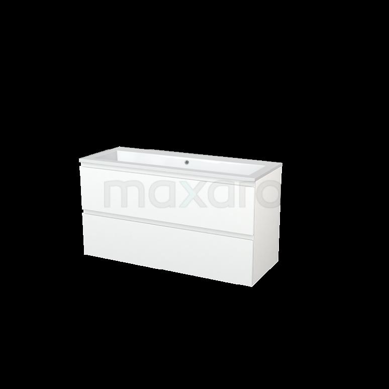 Badkamermeubel 120cm Modulo+ Mat Wit 2 Lades Greeploos Wastafel Mineraalmarmer
