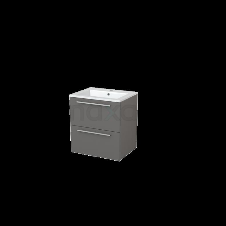 Badkamermeubel 60cm Modulo+ Basalt 2 Lades Vlak Wastafel Mineraalmarmer