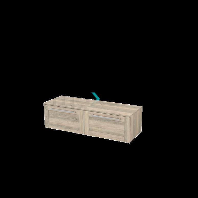 Hangende Badkamerkast Modulo+ 120x32cm Eiken 2 Lades