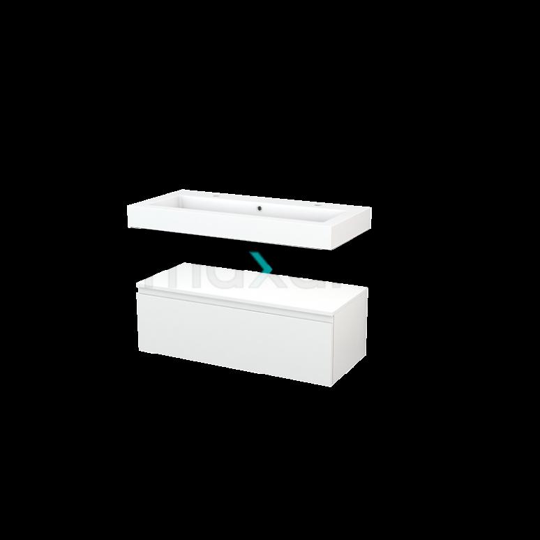 Wastafelmeubel Modulo+ 100x35cm Hoogglans Wit 1 Lade
