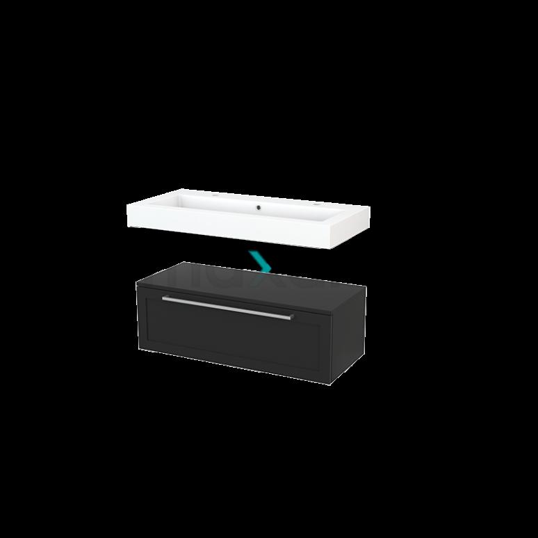 Wastafelmeubel Modulo+ 100x35cm Carbon 1 Lade