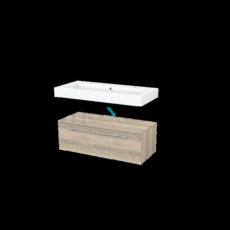 Wastafelmeubel Modulo+ 100x35cm Eiken 1 Lade