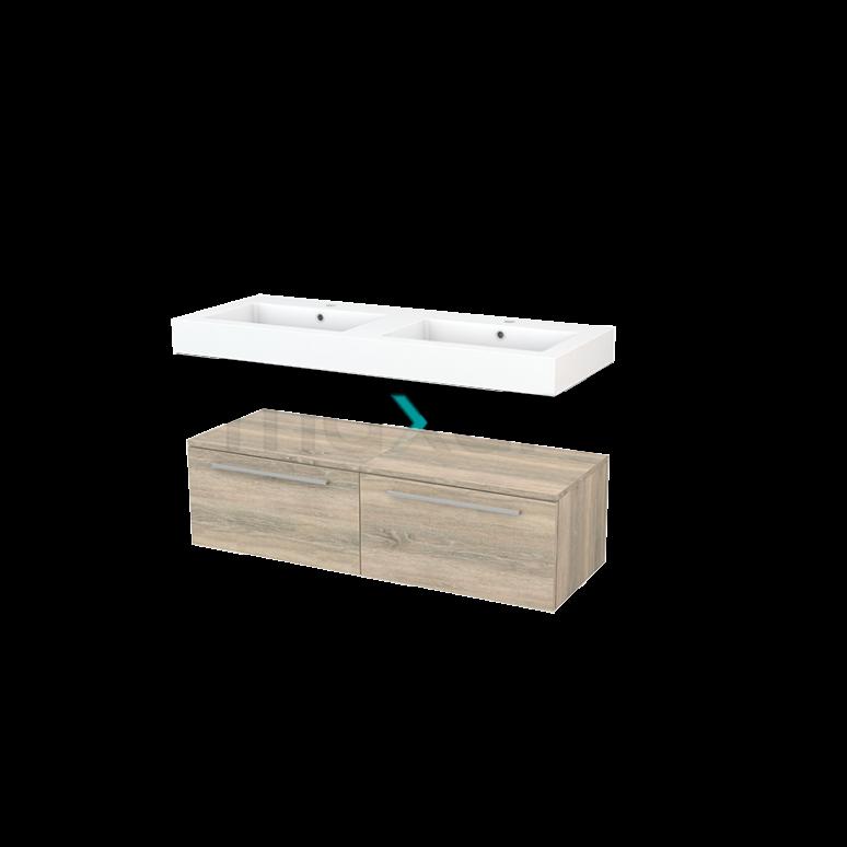 Wastafelmeubel Modulo+ 120x35cm Eiken 2 Lades