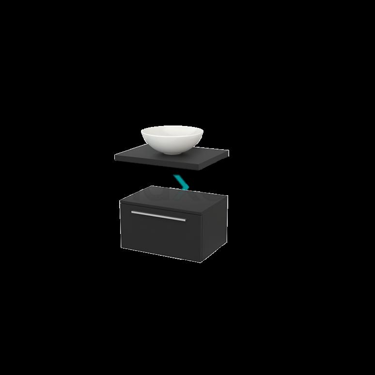 Lage Badkamerkast met Wastafelblad 60x35cm Modulo+ Plato Carbon 1 Lade Vlak