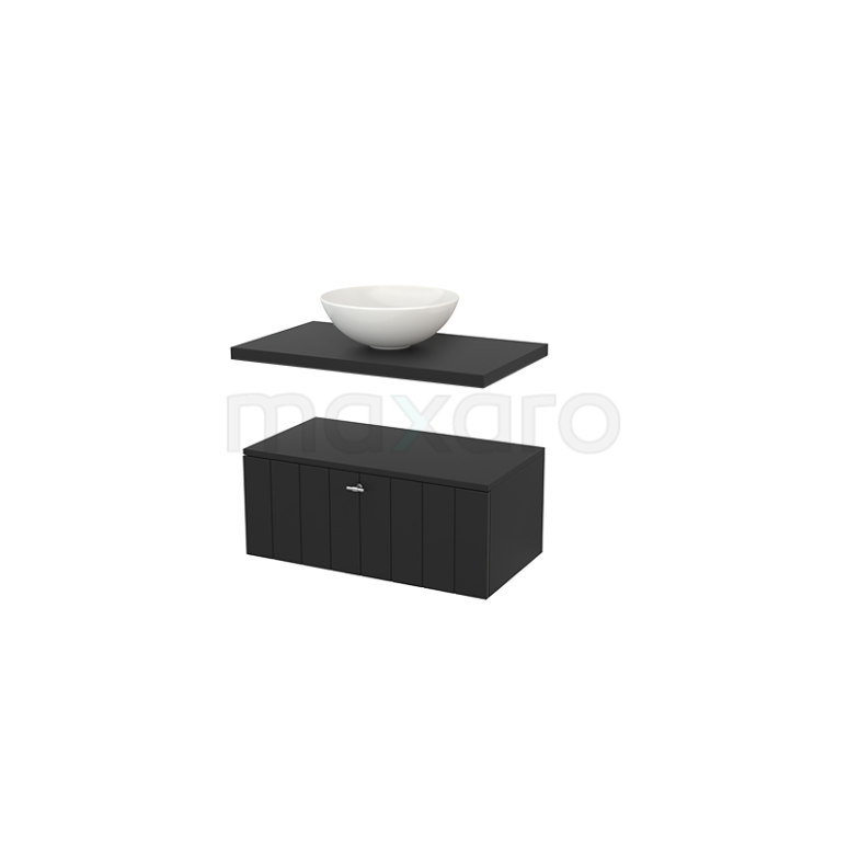 Lage Badkamerkast met Wastafelblad 80x35cm Modulo+ Plato Carbon 1 Lade Lamel