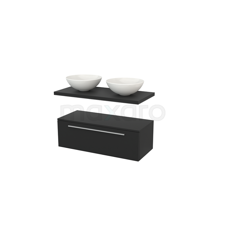 Lage Badkamerkast met Wastafelblad 100x35cm Modulo+ Plato Carbon 1 Lade Vlak