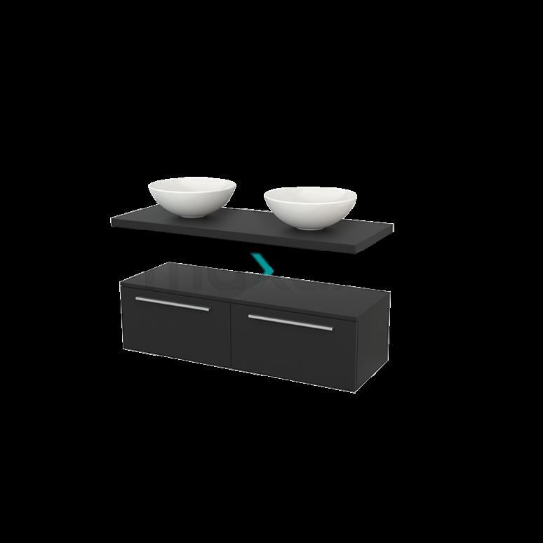 Lage Badkamerkast met Wastafelblad 120x35cm Modulo+ Plato Carbon 2 Lades Vlak