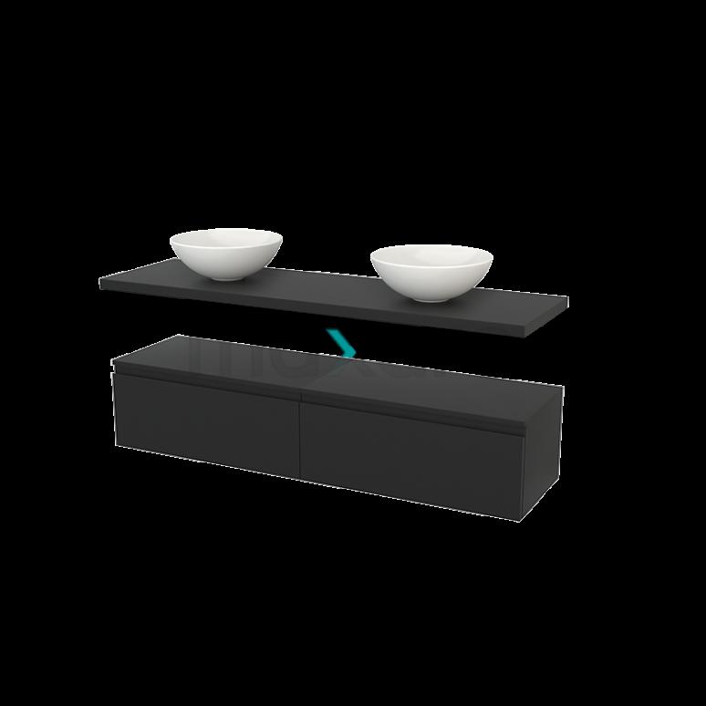 Lage Badkamerkast met Wastafelblad 160x35cm Modulo+ Plato Carbon 2 Lades Greeploos